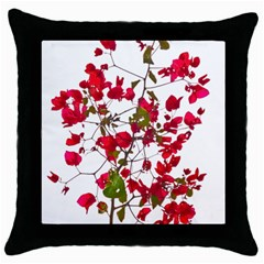 Red Petals Black Throw Pillow Case by dflcprints