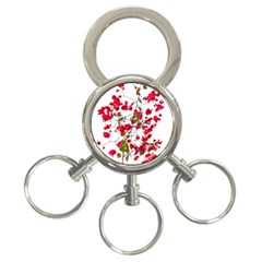 Red Petals 3 Ring Key Chain by dflcprints