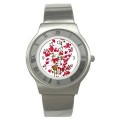 Red Petals Stainless Steel Watch (slim)