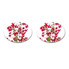 Red Petals Cufflinks (oval)