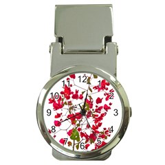 Red Petals Money Clip With Watch by dflcprints