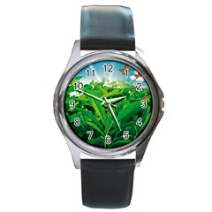 Nature Day Round Leather Watch (silver Rim) by dflcprints