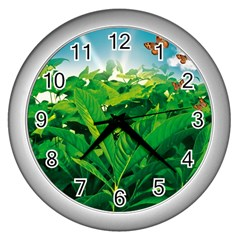 Nature Day Wall Clock (silver) by dflcprints