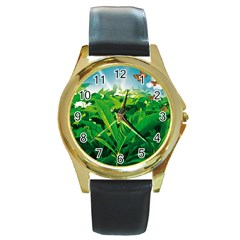 Nature Day Round Leather Watch (gold Rim)  by dflcprints
