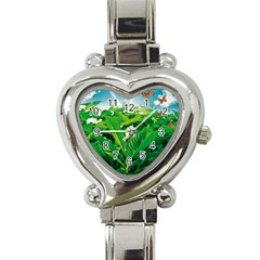 Nature Day Heart Italian Charm Watch  by dflcprints