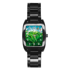 Nature Day Stainless Steel Barrel Watch