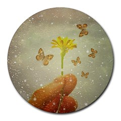 Butterflies Charmer 8  Mouse Pad (round) by dflcprints