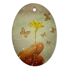 Butterflies Charmer Oval Ornament (two Sides) by dflcprints