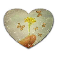 Butterflies Charmer Mouse Pad (heart) by dflcprints