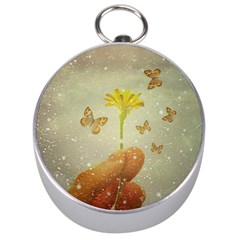 Butterflies Charmer Silver Compass by dflcprints