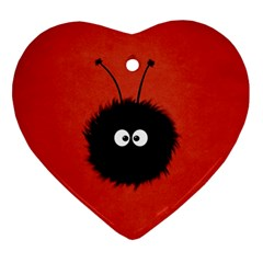 Red Cute Dazzled Bug Heart Ornament