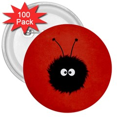 Red Cute Dazzled Bug 3  Button (100 Pack) by CreaturesStore