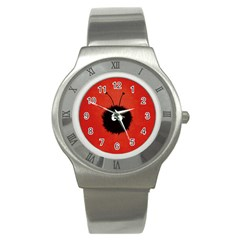 Red Cute Dazzled Bug Stainless Steel Watch (slim)