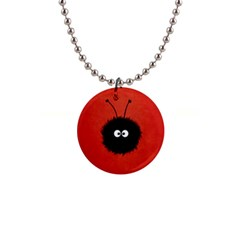 Red Cute Dazzled Bug Button Necklace by CreaturesStore