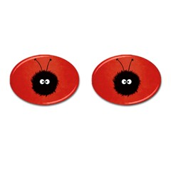 Red Cute Dazzled Bug Cufflinks (oval) by CreaturesStore