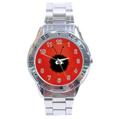 Red Cute Dazzled Bug Stainless Steel Watch