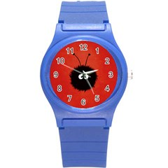 Red Cute Dazzled Bug Plastic Sport Watch (small) by CreaturesStore