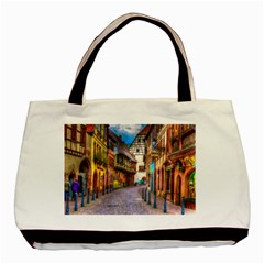 Alsace France Twin Sided Black Tote Bag
