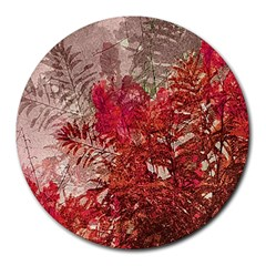 Decorative Flowers Collage 8  Mouse Pad (round) by dflcprints