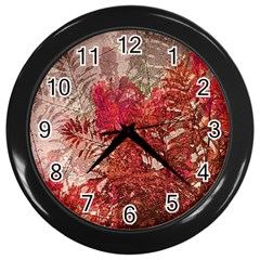 Decorative Flowers Collage Wall Clock (black) by dflcprints
