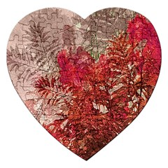 Decorative Flowers Collage Jigsaw Puzzle (heart) by dflcprints