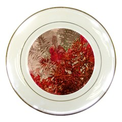 Decorative Flowers Collage Porcelain Display Plate by dflcprints