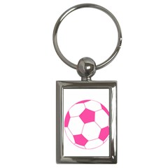 Soccer Ball Pink Key Chain (rectangle) by Designsbyalex