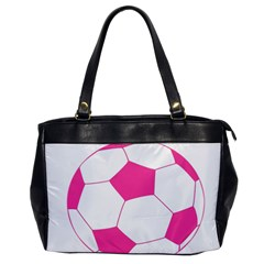 Soccer Ball Pink Oversize Office Handbag (one Side) by Designsbyalex