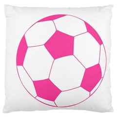 Soccer Ball Pink Large Cushion Case (two Sided)  by Designsbyalex
