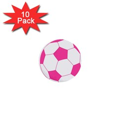 Soccer Ball Pink 1  Mini Button (10 Pack) by Designsbyalex
