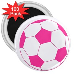 Soccer Ball Pink 3  Button Magnet (100 Pack) by Designsbyalex