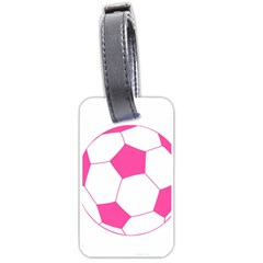 Soccer Ball Pink Luggage Tag (two Sides) by Designsbyalex