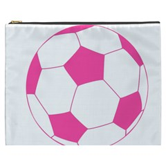 Soccer Ball Pink Cosmetic Bag (XXXL) by Designsbyalex