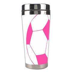 Soccer Ball Pink Stainless Steel Travel Tumbler by Designsbyalex