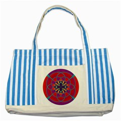 Mandala Blue Striped Tote Bag by SaraThePixelPixie