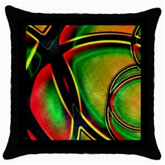 Multicolored Modern Abstract Design Black Throw Pillow Case by dflcprints