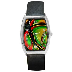Multicolored Modern Abstract Design Tonneau Leather Watch by dflcprints