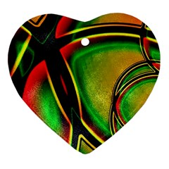 Multicolored Modern Abstract Design Heart Ornament (two Sides) by dflcprints
