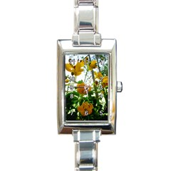 Yellow Flowers Rectangular Italian Charm Watch by SaraThePixelPixie
