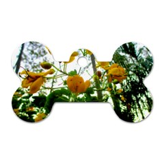Yellow Flowers Dog Tag Bone (one Sided)