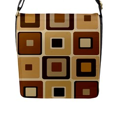Retro Coffee Squares Flap Closure Messenger Bag (large) by SendCoffee