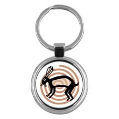 Mimbres Rabbit Key Chain (round) by MisfitsEnterprise
