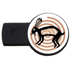Mimbres Rabbit 4gb Usb Flash Drive (round) by MisfitsEnterprise