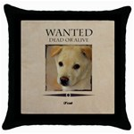 wanted - Throw Pillow Case (Black)