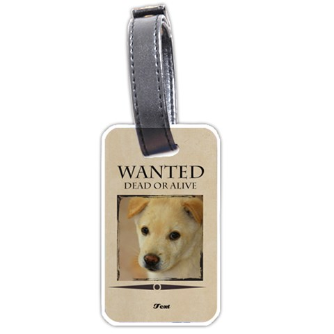 Wanted By Divad Brown   Luggage Tag (one Side)   Scqvvsj7k4t9   Www Artscow Com Front