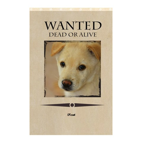 Wanted By Divad Brown   Shower Curtain 48  X 72  (small)   V78uasecqe9v   Www Artscow Com 42.18 x64.8 Curtain