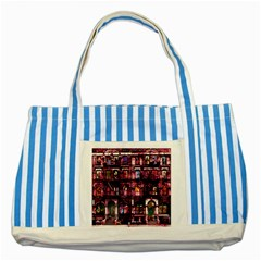 Physical Graffitied Blue Striped Tote Bag by SaraThePixelPixie