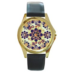 Luxury Decorative Symbols  Round Leather Watch (gold Rim)  by dflcprints