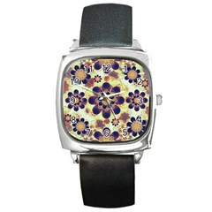 Luxury Decorative Symbols  Square Leather Watch by dflcprints