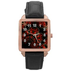 Phenomenon, Orange Gold Cosmic Explosion Rose Gold Leather Watch  by DianeClancy